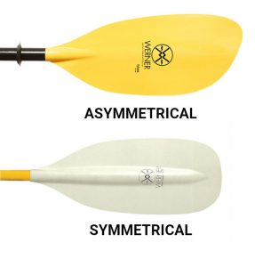 kayak paddle buying guide - symmetrical and asymmetrical blades